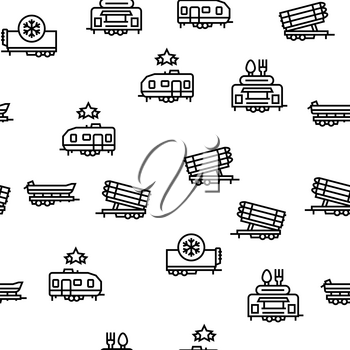 Trailer Transport Vector Seamless Pattern Thin Line Illustration
