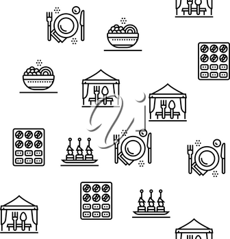 Catering Food Service Vector Seamless Pattern Thin Line Illustration
