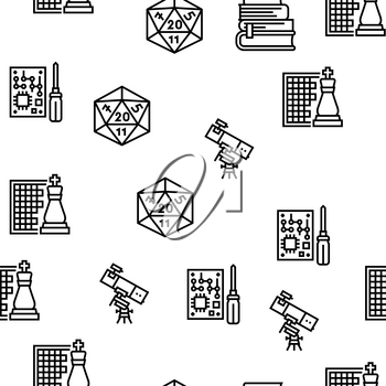 Geek, Nerd And Gamer Vector Seamless Pattern Thin Line Illustration