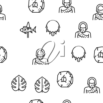 Prehistoric Period Vector Seamless Pattern Thin Line Illustration