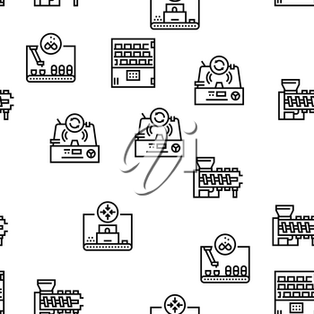 Pharmaceutical Production Factory Seamless Pattern Thin Line Illustration