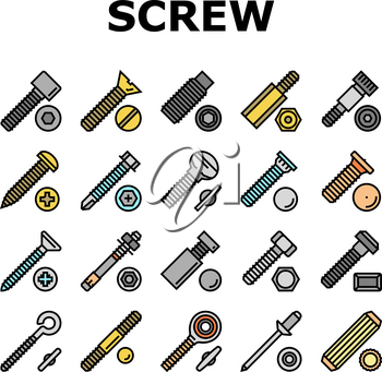 Screw And Bolt Building Accessory Icons Set Vector. Socket Head And Shoulder Screw, Press-fit And Hex Standoffs, Eyebolt With Peg And Rivet Engineer Equipment Line. Color Illustrations
