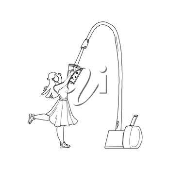 Water Filter Faucet Pouring In Glass Girl Black Line Pencil Drawing Vector. Young Woman Holding Cup And Filling Fresh Clean Water From Tap. Character Lady Filtration Drink, Healthy Purity Liquid Illustration