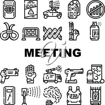 Protests Meeting Event Collection Icons Set Vector. Microwave Gun And Traumatic Gun, Water Jet And Body Armor Protests Equipment Black Contour Illustrations