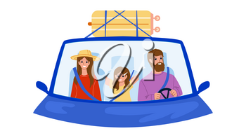 Family In Car Enjoy On Vacation Road Trip Vector. Man And Woman Parents And Girl Child Family In Car Traveling Together. Character Luggage Bag On Automobile Flat Cartoon Illustration