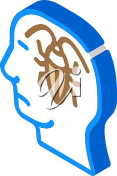 cockroaches in head, neurosis problem isometric icon vector. cockroaches in head, neurosis problem sign. isolated symbol illustration