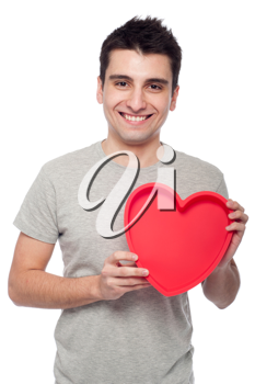 Royalty Free Clipart Image of a Man Holding a Heart