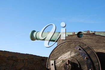 Royalty Free Photo of an Iron Cannon Protecting the Capital of Portugal, Lisbon
