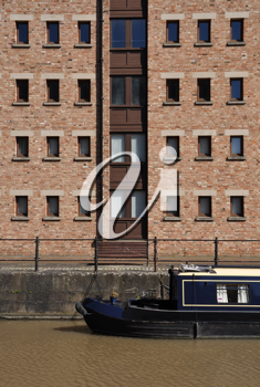 Royalty Free Photo of a House Boat at Gloucester Docks, England