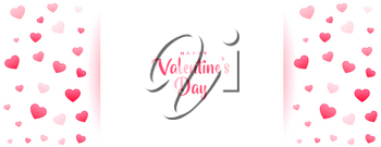 beautiful valentines day romantic banner with hearts
