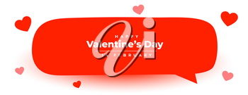 happy valentines day speech red bubble for love message