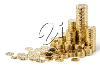 Royalty Free Photo of Stacks of Golden Coins