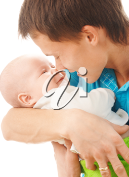 Royalty Free Photo of a Man Holding a Baby