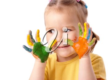 Royalty Free Photo of a Little Girl With Painted Hands