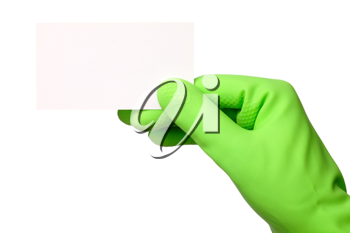Royalty Free Photo of a Hand Wearing a Rubber Glove Holding a Business Card