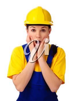 Royalty Free Photo of an Astonished Woman Wearing a Hardhat