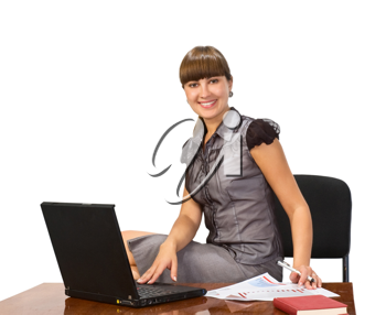 Royalty Free Photo of a Happy Woman at a Laptop