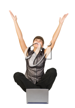 Royalty Free Photo of a Happy Woman With a Laptop
