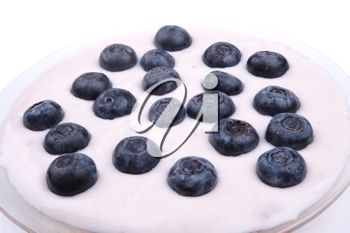 fresh blueberries fruits in the bowl with yoghurt