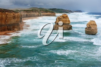 The Twelve Apostles in the storm weather, along the Great Ocean Road, Australia