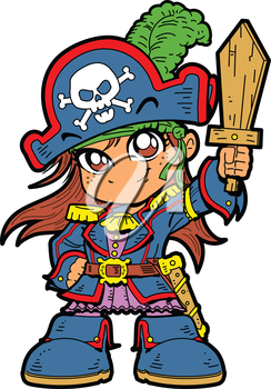 Royalty Free Clipart Image of an Anime Pirate Girl With a Sword