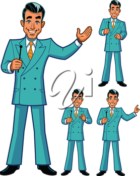 Royalty Free Clipart Image of Men With Mikes