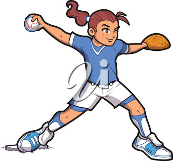 Royalty Free Clipart Image of a Girl Throwing a Ball