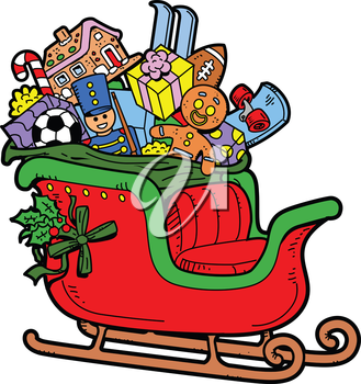 Royalty Free Clipart Image of Santa's Sleigh Full of Toys