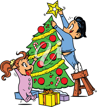 Royalty Free Clipart Image of a Boy and Girl Trimming a Tree
