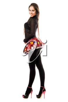 Royalty Free Photo of a Woman in a Short Skirt and High Heels