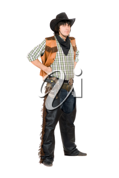Royalty Free Photo of a Man Dressed as a Cowboy