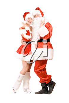 Royalty Free Photo of Santa and a Woman in Costume
