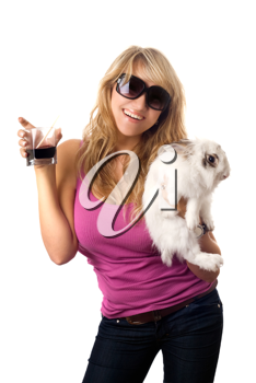 Royalty Free Photo of a Woman With a Glass of Alcohol and a Rabbit