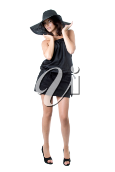 Royalty Free Photo of a Woman in a Black Hat