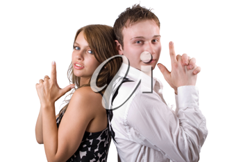 Royalty Free Photo of a Couple With Their Fingers Like a Gun