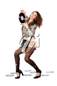 Royalty Free Photo of a Woman Holding a Record