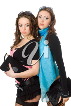Royalty Free Photo of Two Young Women With Purses