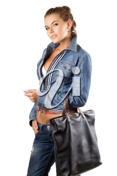 Royalty Free Photo of a Woman in a Denim Jacket Carrying a Black Handbag