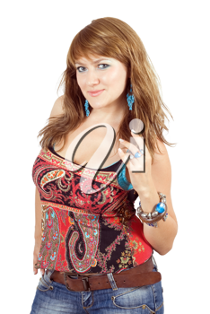 Royalty Free Photo of a Woman in Colourful Clothes
