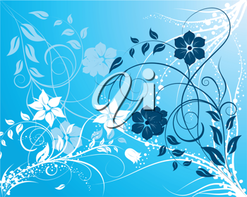 Royalty Free Clipart Image of a Blue Floral Background