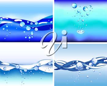 Royalty Free Clipart Image of Sets of Abstract Water Backgrounds