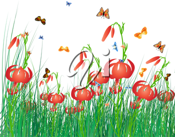 Meadow color background with butterfly and sun. All objects are separated. Vector illustration with transparency. Eps 10.