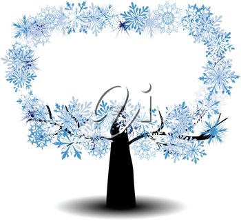 Beautiful winter tree with snowflakes leaves. Vector illustration.