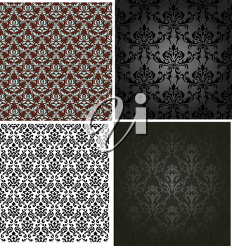 Damask seamless color pattern set. For easy making seamless pattern just drag all group into swatches bar, and use it for filling any contours. Fully editable EPS 8 vector illustration.