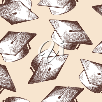 Graduation cap seamless doodle pattern. EPS 10 vector illustration without transparency.