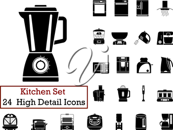 Set of 24 Kitchen Icons in Black Color.
