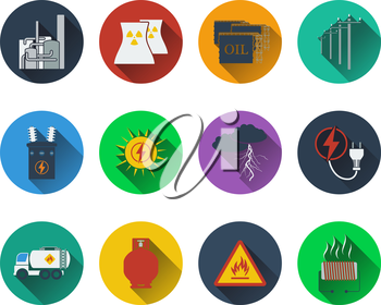 Set of energy icons in flat design