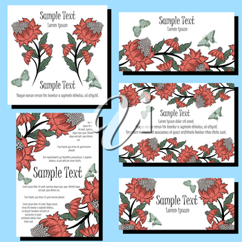 Greeting Invitation Card Set With Floral Design.
