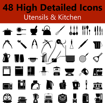 Set of High Detailed Utensils and Kitchen Smooth Icons in Black Colors. Suitable For All Kind of Design (Web Page, Interface, Advertising, Polygraph and Other). Vector Illustration.