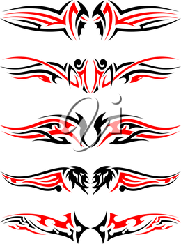 Set of Tribal Indigenous Tattoos in Black and Red Colors. Elegant Smooth Design Over White Background. Vector Illustration.
